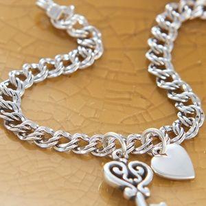 Double Curb Charm Bracelet